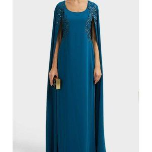 Marchesa Notte Teal Cape-effect Embroidered Gown